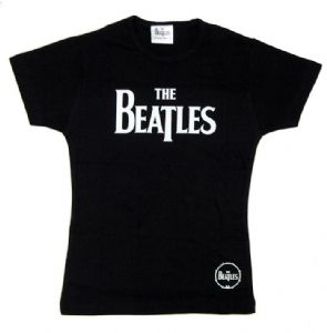 The Beatles Logo Design Black Ladies Fitted T-Shirt